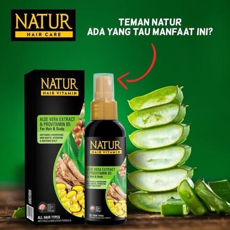 Natur Hair Vitamin 80 ml : * Aloe Vera ( All Hair Type) Mengandung Aloe Vera Extract dan Pro Vitamin B5 yang berfungsi untuk melembutkan dan menutrisi dan sesudah penataan rambut. Diperkaya dengan Vitamin E untuk menjaga kelembaban alami rambut. Dengan pa