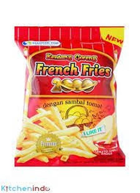 French Fries 2000 Snack adalah snack yang terbuat dari kentang pilihan dan diolah dengan bumbu istimewa sehingga menghasilkan snack kentang yang gurih dan renyah ditambah dengan saus sambal tomat yang nikmat.
