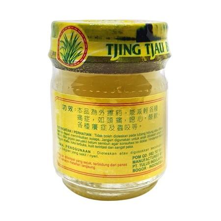 Tjing Tjau Balsem [20 g] merupakan jenis obat gosok dalam bentuk sediaan semi padat yang berkhasiat dalam meredakan sakit kepala, mual, nyeri otot, dan gatal-gatal karena digigit serangga.