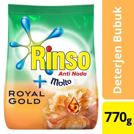 Rinso Molto Royal Gold Liquid 770Ml Hadir Dengan Teknologi Smartfoam, Busa Lebih Cepat Hilang Saat Membilas, Menghemat Hingga Setengah Air Bilasan. Dengan Formulasi Anti Noda, Cepat Menghilangkan Noda Membandel Hanya Dengan 1X Kucek. Memberikan Keharuman