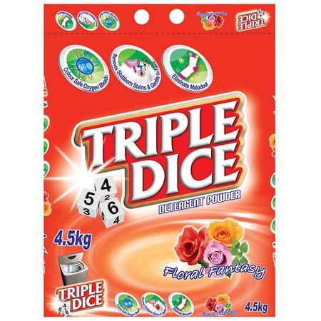 Triple Dice Detergent Powder, Floral Fantasy Merupakan Detergen Yang Memiliki Aroma Wangi Dan Menyegarkan. Detergen Dengan Wangi Aroma Bunga Ini Cocok Untuk Mesin Cuci Bukaan Atas.