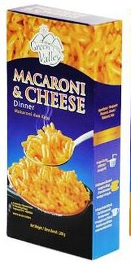 Green Valley Macaroni And Cheese Merupakan Pasta Instan Yang Dapat Anda Nikmati Kapan Dan Dimana Saja. Macaroni Ini Memiliki Tekstur Yang Lembut Dan Kenyal, Ditambah Dengan Perpaduan Dengan Keju Pilihan Yang Akan Memberikan Cita Rasa Yang Nikmat.