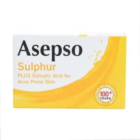 Asepso Antipseptic Sulfur Soap Bar 80Gr. Membersihkan Tubuh Dengan Lebih Efektif . Membunuh Kuman Dan Menyingkirkan Bakteri.