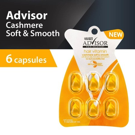 The Latest Innovation From Makarizo Advisor Hair Recovery  The First Hair Vitamin With 100% Pure Vegetal Origin Capsules Containing Vitamin A, C, E, Pro Vitamin B5 And Silk Protein To Fortify, Revitalize, And Nourish Hair.   Cashmere Soft & Smooth Capsul