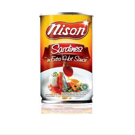 Sarden Nison Extra Pedas 425gr. Sarden siap saji dengan tambahan saus tomat ekstra pedas. Rasanya yang enak dan juga mengandung sumber asam omega-3.