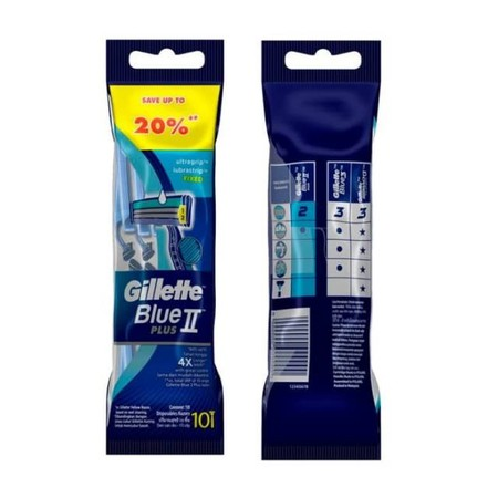 Gillette Blue Ii Plus Slalom Disposable Razors. A Great Shave Is Within Your Grasp With Gillette Blue Ii Plus Slalom MenS Disposable Razor. Featuring Lubrastrip With Aloe, A Soft Ultragrip Handle For Great Control And A Pivoting Head That Adjusts To The
