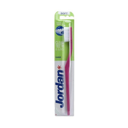 Classic MT is Jordans most basic toothbrush variant. It has a two component handle and an oval head with white end-rounded bristles. Jordan MT has a flat trim and is available in the several degrees of bristle hardness