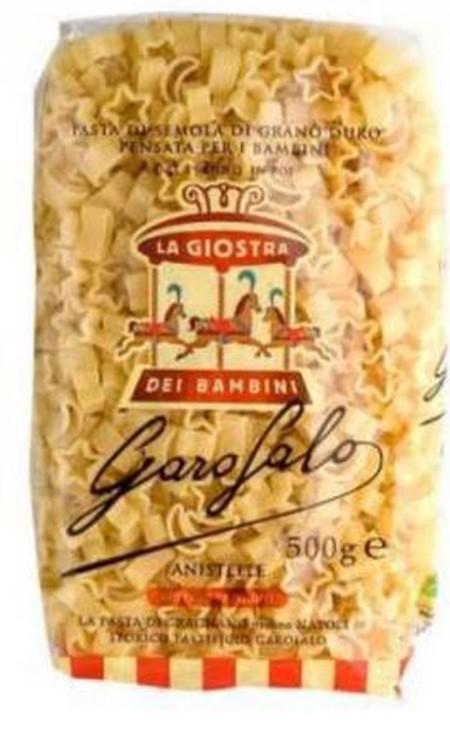 Garofalo Pasta Motori, short pasta berkualitas yang terbuat dari gandum durum semolina yang berbentuk bulan dan bintang, cocok untuk diolah menjadi pelengkap pada soup atau hidangan pasta, menarik bagi anak-anak dan nikmat rasanya.