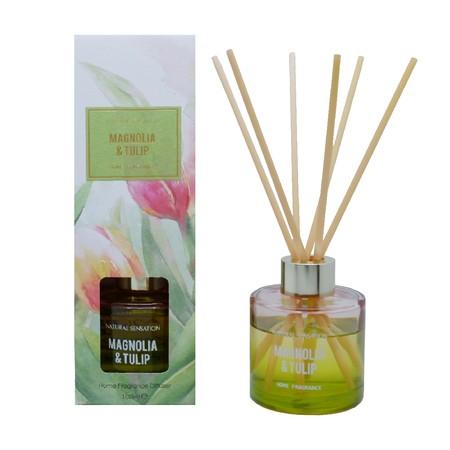 Diffuser dengan aroma mewah lengkap dengan Tongkat Reed Rotan, Minyak Esensial yang wangi, botol kaca dan kotak produk yang cantik.  Pengharum Udara cocok digunakan disegala ruangan  Brand: OKIDOKI Materials: solvent, fragrance, additive, with 12% premium fragrance Product Size: 100 ML varian: Magnolia & Tulip