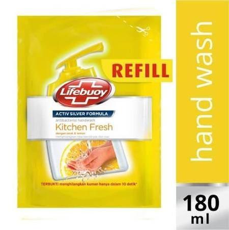 Sabun Cuci Tangan Kitchen Fresh-Sabun cuci tangan anti bakteri dengan aroma lemon segar yang mempu membersihkan dan membantu menghilangkan bau amis, minyak, dan kotoran pada kulit. Diperkaya dengan ActivSilver Formula untuk perlindungan terhadap 10 kuman