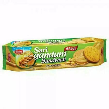 Roma Sari Gandum Peanut 115Gr Roma Sari Gandum Peanut 115GrMerupakan Biskuit Sandwich Yang Terbuat Dari Gandum Dan Kacang Pilihan Sehingga Menghasilkan Tekstur Yang Lembut. Ideal Dinikmati Saat Santai Bersama Keluarga, Kerabat Dan Teman-Teman.