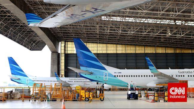 Sejumlah pesawat garuda parkir di hangar 2 Garuda Maintenance Facility, GMF AeroAsia, Tangerang, Banten, Rabu, 4 Maret 2015. CNN Indonesia/Safir Makki