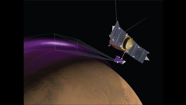 Ilustrasi pesawat antariksa MAVEN menangkap gambar fenomena aurora di planet Mars pada bulan Maret 2015.  (Dok. University of Colorado)