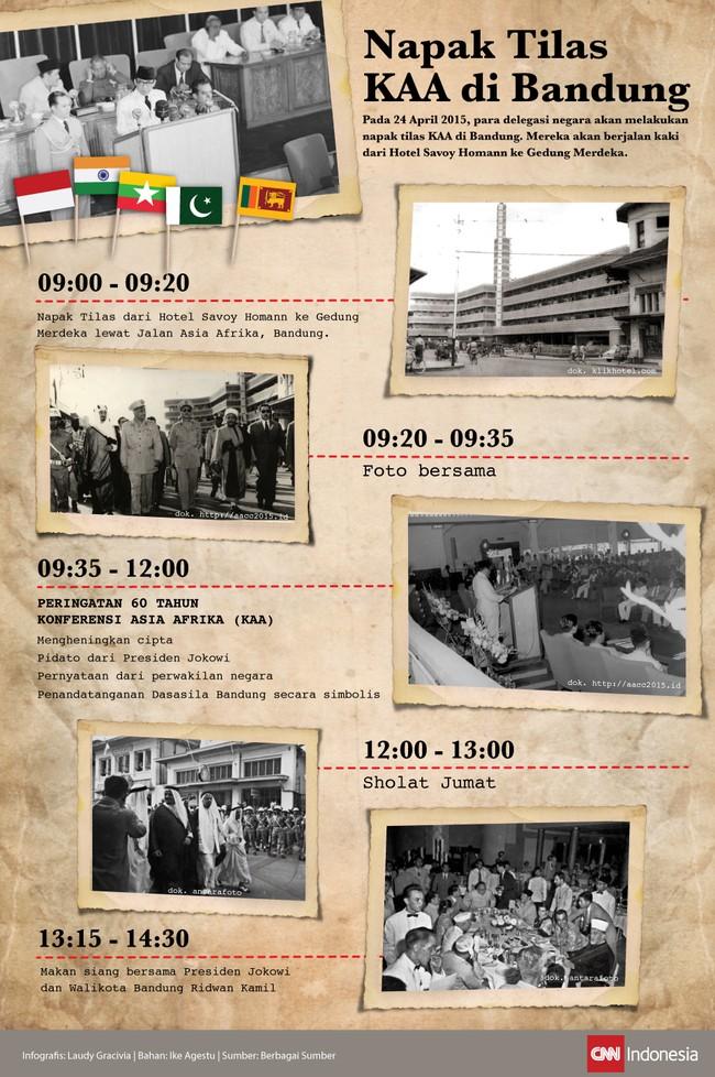 Pada Jumat, (24/4), delegasi negara yang berpartisipasi dalam KAA akan berjalan kaki bersama dari Hotel Savoy Homann menuju Gedung Merdeka.