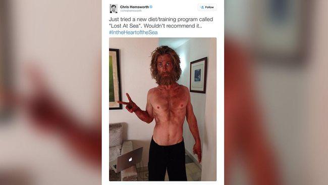Chris Hemsworth tiba-tiba tampil tanpa otot-otot besar yang jadi ciri khasnya. Ada apa dengan sang pemeran Thor?