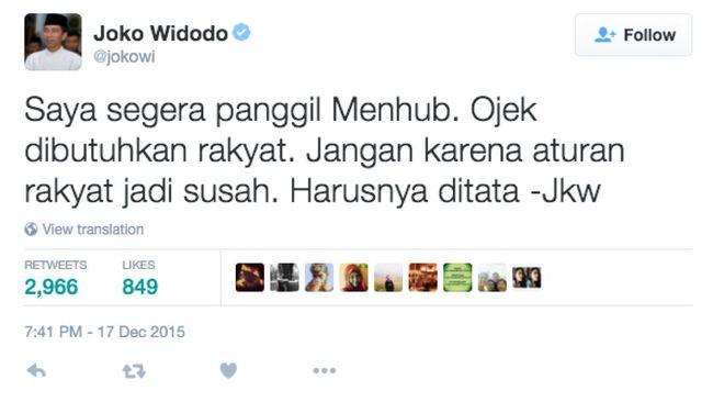 Presiden Jokowi angkat bicara soal polemik aturan larangan ojek daring yang dilarang Menteri Perhubungan Ignasius Jonan.
