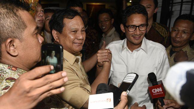 Ketua Umum Prabowo Subianto akhirnya memilih Sandiaga Uno sebagai cawapresnya pada pilpres 2019.