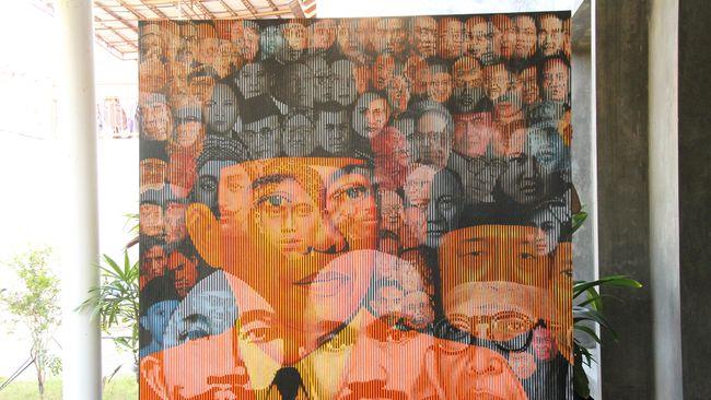 Lukisan tentang wajah-wajah pelaku sejarah Indonesia yang dipamerkan di Bandara Soekarno-Hatta hanya bertahan empat hari karena ada secuil wajah DN Aidit.