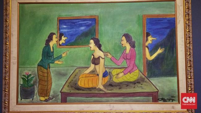Pelukis produktif dari 1940 hingga 1990-an itu menampilkan wajah Indonesia yang dekat dengan keseharian, ekspresif, dan sarkastis.
