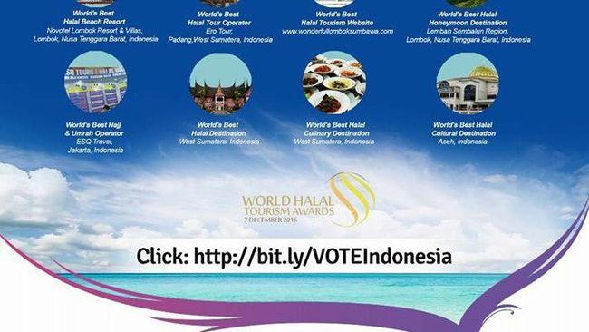 Ayo segera dukung Indonesia di World Halal Tourism Award 2016.