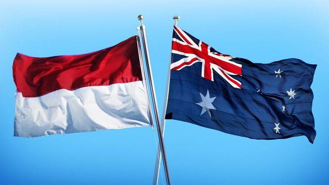 Ilustrasi bendera Australia dan bendera Indonesia