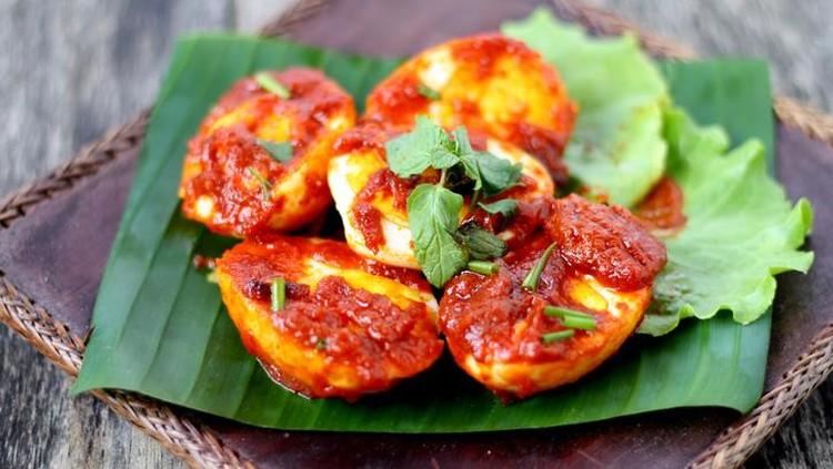 Sambal Telur - Malay traditional cuisine. Hard boiled eggs and chilli sauce