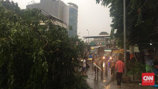 Sejumlah pohon di pinggir jalan tumbang menimpa kendaraan usai hujan deras disertai angin kencang melanda Kota Bandung, Minggu (11/4).