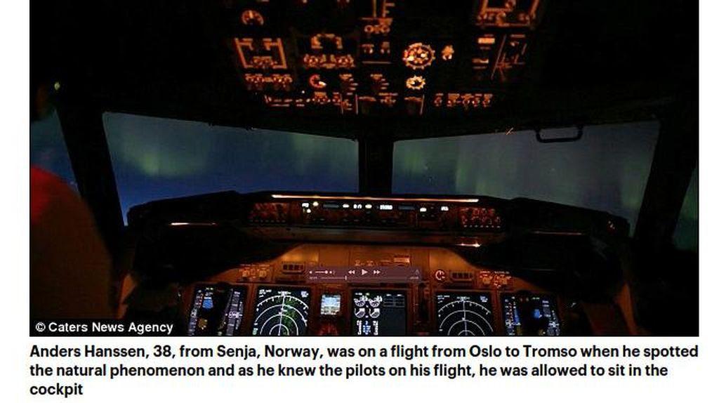 Jepretan Aurora Cantik dari Kokpit Pesawat di Norwegia