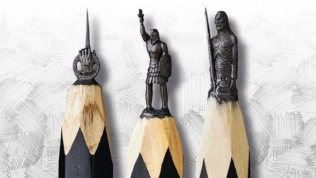 Seniman Rusia, Salavat Fidai membuat ukiran bertema Game of Thrones di ujung grafit pensil yang berdiameter dua sampai lima milimeter.
