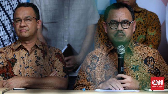 Anies menjelaskan kedatangannya karena Sudirman Said merupakan mantan Ketua Tim Sinkronisasi Anies-Sandi sebelum resmi menjabat Oktober lalu.