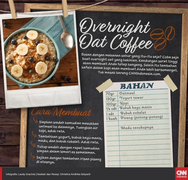 Overnight oat adalah salah satu sajian yang kini jadi tren. Selain soal tren, konsumsi oat juga baik untuk kesehatan jantung, kaya serat, dan mengenyangkan.