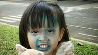 <p>Nah, wajah Kala warnanya hijau. (Foto: Instagram kalamadali)</p>