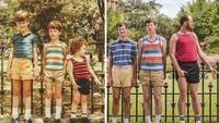 <p>Foto berjajar sewaktu kecil mereka ulangi kembali saat dewasa, tapi ada yang beda nih, ukuran tinggi badannya jadi berbalik. (Foto: Facebook/ Going Viral)</p>
