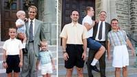 <p>Aih, kompaknya. Dengan warna baju yang hampir sama, ayah juga berusaha keras lho untuk menggendong anaknya agar terlihat sama dengan foto waktu dulu. (Foto: Facebook/ Going Viral)</p>