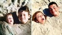 <p>Meski bentuk wajahnya berubah tapi mereka berusaha keras berpose mirip seperti waktu kecil. (Foto: Facebook/ Going Viral)</p>