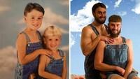 <p>Mereka niat banget ya, sampai memikirkan background yang sama dan pakaian yang serupa untuk menirukan foto kecilnya. (Foto: Facebook/ Going Viral)</p>