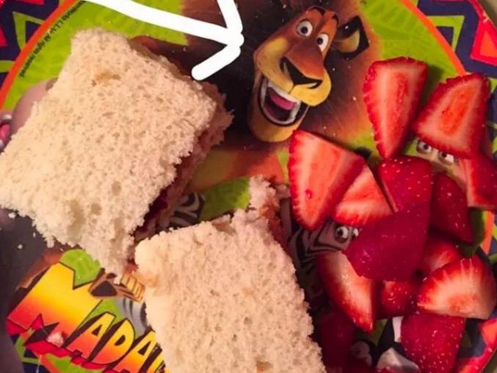 Piring dengan karakter hewan lucu belum tentu memancing selera makan si kecil. Buktinya ada yang takut memakan roti dan strawberry di atas piring karena sudah disentuh singa.  Foto: Istimewa