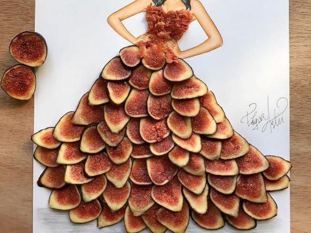 Siapa sangka buah fig bisa jadi aksen ruffle di baju ilustrasi wanita ini. Edgar mulai membuat food art sejak usia 5 tahun. Foto: Edgar Artis