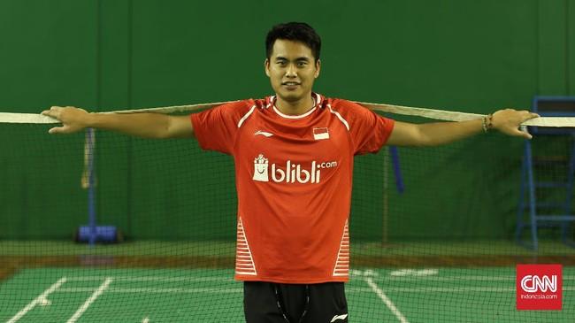 Pemain Badminton Tontowi Ahmad saat ditemui di Cipayung, Jakarta Timur, Selasa (5/9).