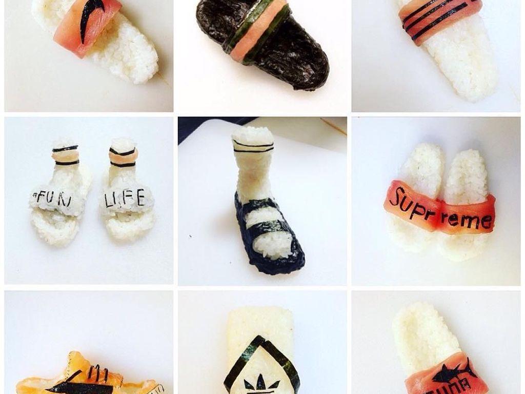 Bahkan dengan tulisan Summer chef berusia 18 tahun ini juga membuat aneka sendal dengan berbagai merek. Hayoo, pilih yang mana? Foto: Yujia Hu