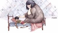 Saat anaknya terlelap, Bunda akan terus menjaganya. (Foto: Instagram/vskafandre)