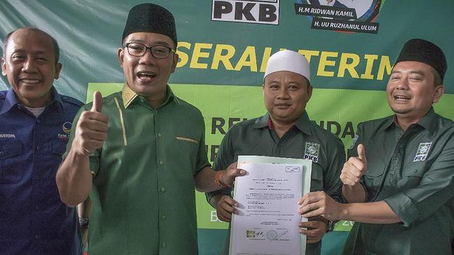 Selawat Iringi Ridwan Kamil-Uu Ruzhanul Daftar ke KPU Jabar
