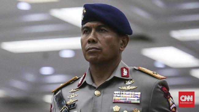Rudy Sufahriadi hadir dalam upacara serah terima jabatan sejumalah perwira tinggi Polri, Jakarta 11 Januari 2018. Rudy menerima jabatan baru sebagai Dankorbrimob menggantikan Murad Ismail. (CNN Indonesia/ Hesti Rika)