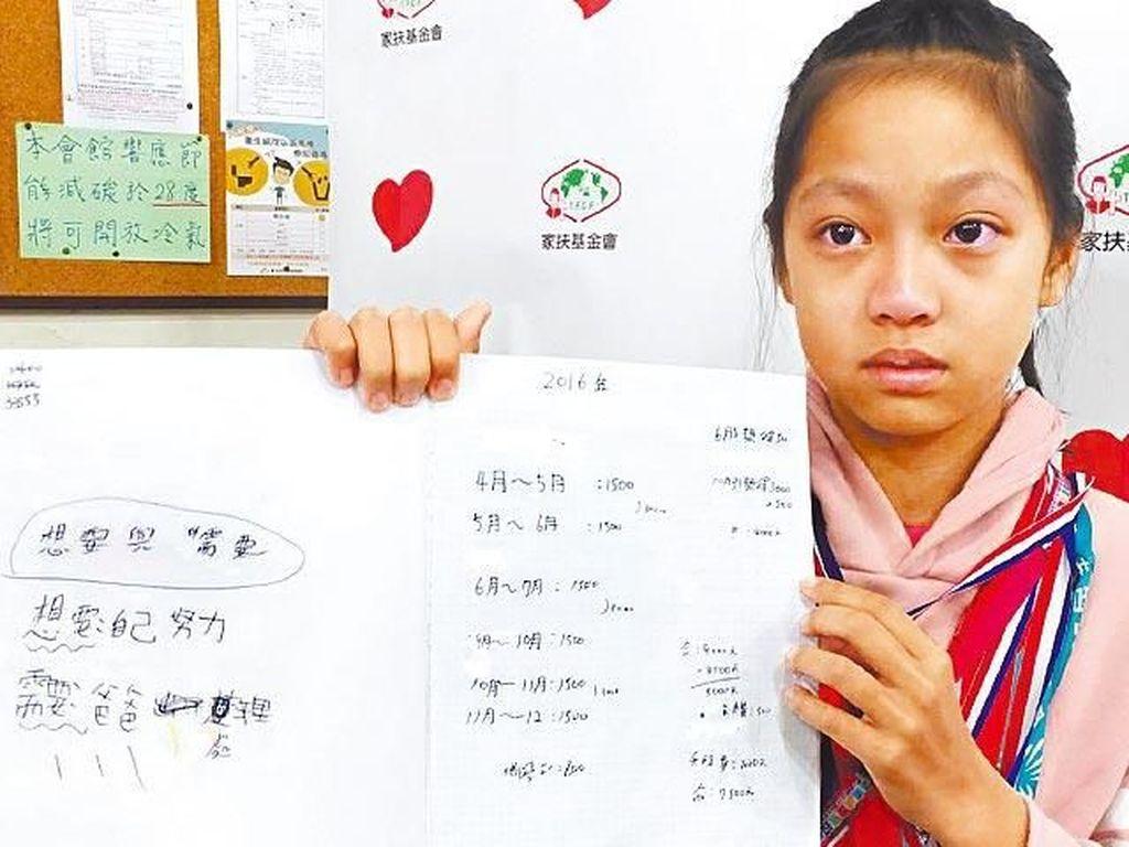 Kisah Haru Gadis 11 Tahun yang Setiap Hari Catat Daftar Biaya Hidupnya