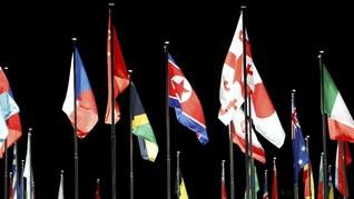 Jelang Olimpiade, Bendera Korut Berkibar di Korsel