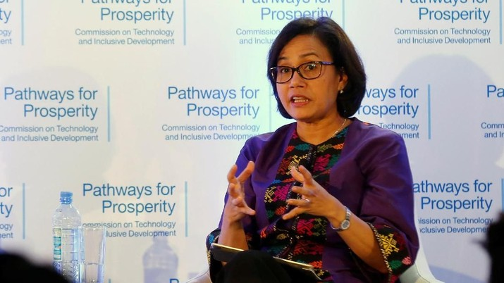 Indonesian Finance Minister Sri Mulyani Indrawati gestures during a panel discussion in Nairobi, Kenya January 25, 2018. REUTERS/Thomas Mukoya