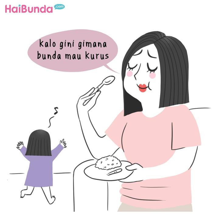 Saat jadi ibu, urusan makan bisa beda nih, Bun. Kalau Bunda gimana? Sama nggak perubahan yang dialami kayak bunda di komik ini?