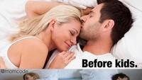 <p>Begini kira-kira gambaran sebelum dan setelah punya anak. (Foto: Instagram @momcode)<br /><br /></p>