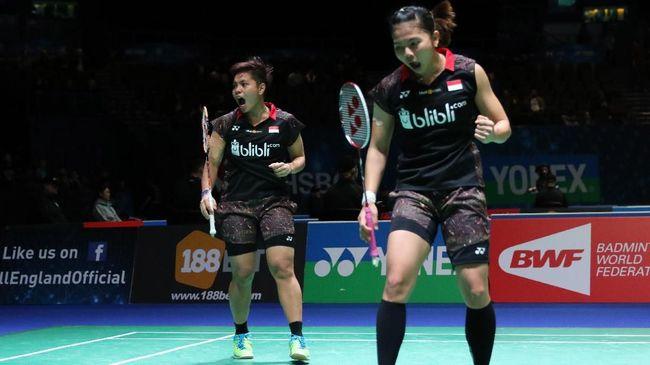 Ganda Indonesia Greysia Polli/Apriyani Rahayu jadi juara usai menang lewat permainan ketat tiga gim atas ganda Bulgaria di final Spanyol Masters 2020.
