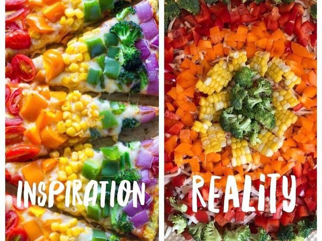 Inspirasi memang tak mirip dengan kenyataannya. Ivanka pun membuat Rainbow Pizza dengan anak-anaknya saat weekend. Meskipun tak sama, namun kebersamaan dengan keluarga jadi yang utama untuk wanita cantik ini. Foto: Instagram @ivankatrump